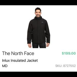 North Face Inlux Jacket. Barely worn. Water proof.